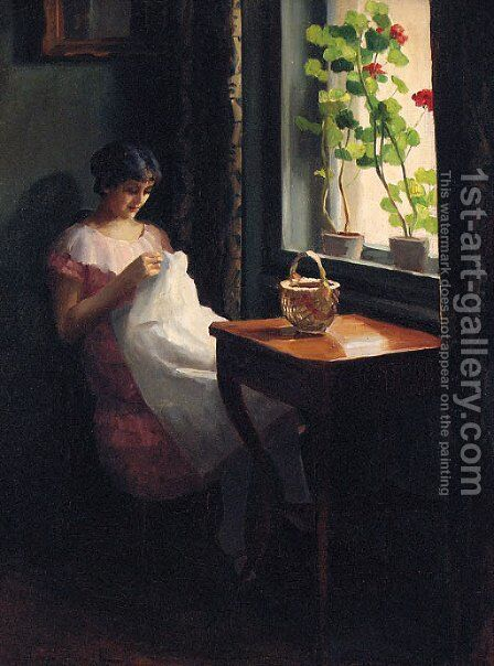 A Girl sewing by a sunlit Window by Emil Pap - Reproduction Oil Painting
