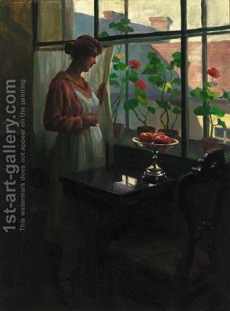A lady at a sunlit window by Emil Pap - Reproduction Oil Painting