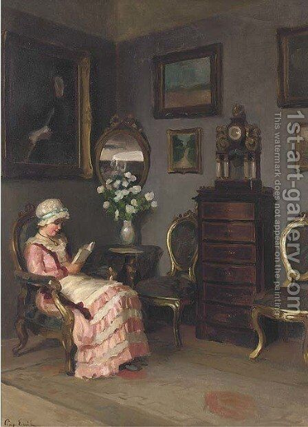 A lady reading in an interior by Emil Pap - Reproduction Oil Painting