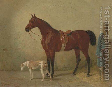 A Saddled Bay Hunter in a Stable with a Dog by Emil Volkers - Reproduction Oil Painting