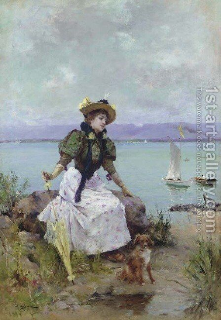 A Young Girl with a Parasol by Auguste Emile Pinchart - Reproduction Oil Painting