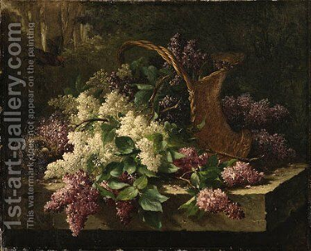 A still life with lilacs in a basket and a bird's nest by Emile Claus - Reproduction Oil Painting