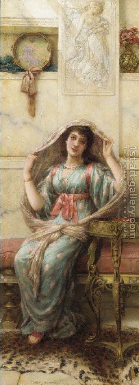 A seated young lady in a shawl by Eisman Semenowsky - Reproduction Oil Painting