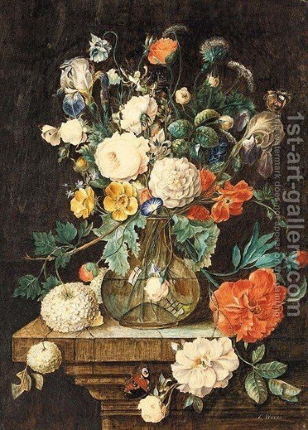 Summer bouquet with butterflies by Emile-Georges Weiss - Reproduction Oil Painting
