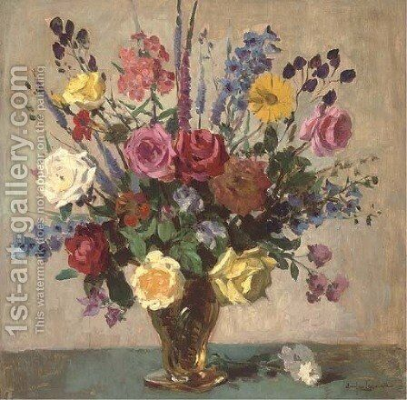 Summer flowers in a vase by Charles Emile Hippolyte Lecomte-Vernet - Reproduction Oil Painting
