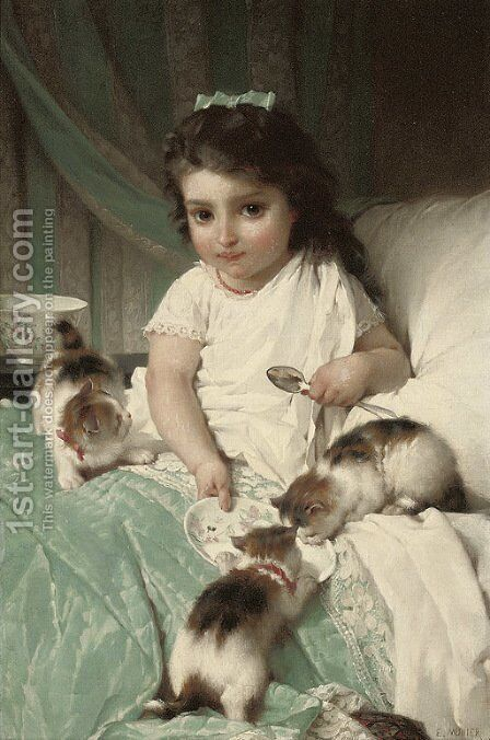 Feeding new friends by Emile Munier - Reproduction Oil Painting