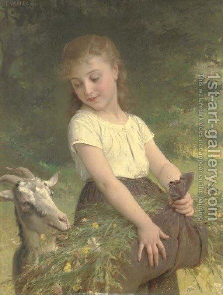 Gathering wild flowers by Emile Munier - Reproduction Oil Painting