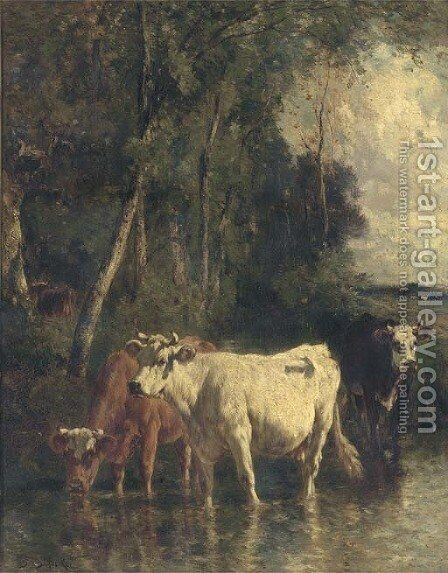 Cattle at the river by Emile Van Marcke De Lumman - Reproduction Oil Painting