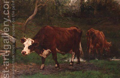 Cows near a ditch by Emile van Marcke de Lummen - Reproduction Oil Painting