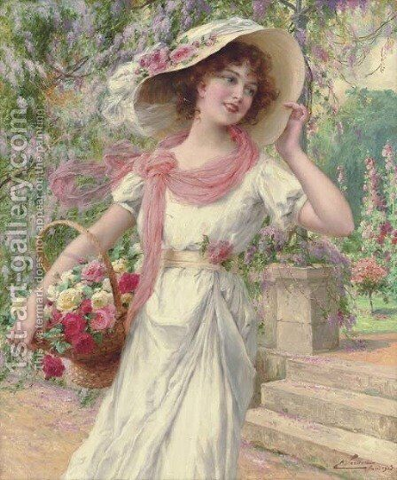 The Flower Garden by Emile Vernon - Reproduction Oil Painting