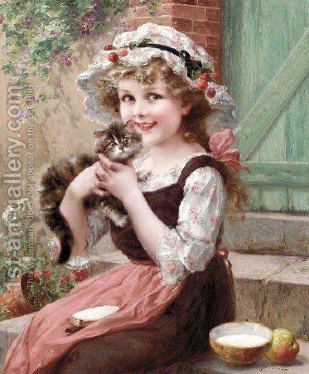 The Little Kittens by Emile Vernon - Reproduction Oil Painting