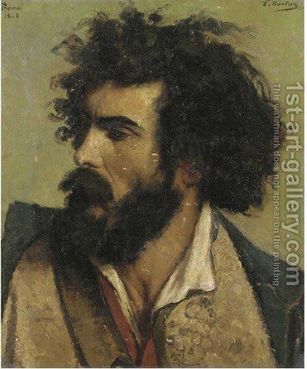 Head of a bearded Italian by Emile Charles Wauters - Reproduction Oil Painting