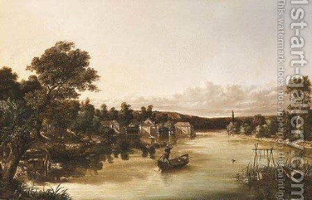 A fisherman in a punt by Emile Charles Lambinet - Reproduction Oil Painting