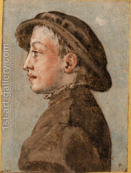 Portrait of a boy wearing a cap, in profile to the left by Emilian School - Reproduction Oil Painting