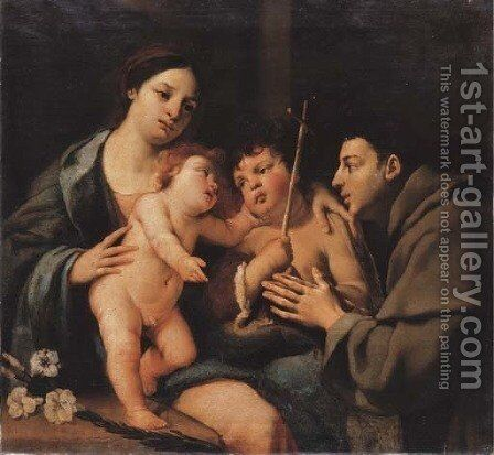 The Madonna and Child with the Infant Saint John the Baptist and a Franciscan Monk by Emilian School - Reproduction Oil Painting