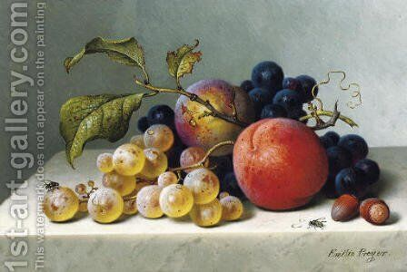 Peaches and grapes on a marble ledge by Emilie Preyer - Reproduction Oil Painting