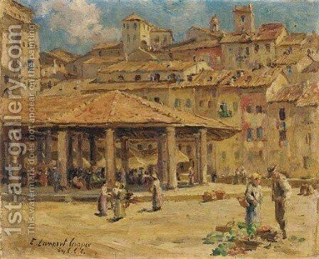 Marketplace, Sienna by Emma Lampert Cooper - Reproduction Oil Painting