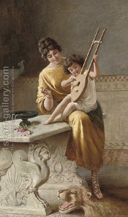 A young musician by Emmanuel Costa - Reproduction Oil Painting