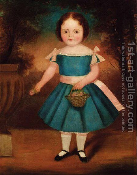 Portrait of a girl by English Naive School - Reproduction Oil Painting