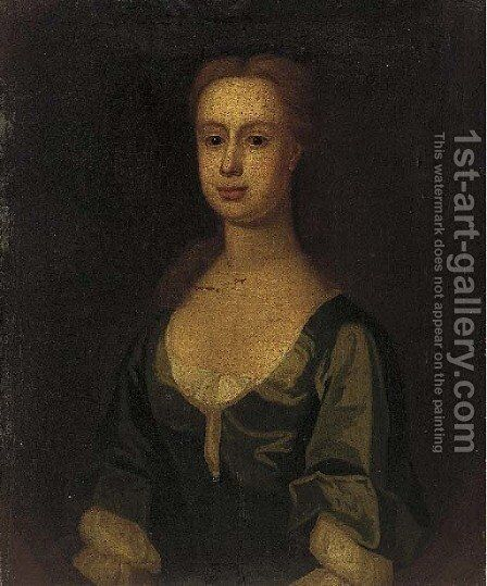 Portrait of a lady, bust-length, in a blue dress, feigned by English Provincial School - Reproduction Oil Painting
