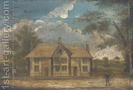 Figures by country cottages by English Provincial School - Reproduction Oil Painting