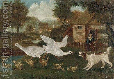 A commotion in the farmyard by English Provincial School - Reproduction Oil Painting