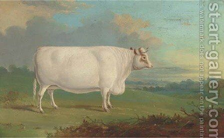 A cow in an extensive landscape by English Provincial School - Reproduction Oil Painting