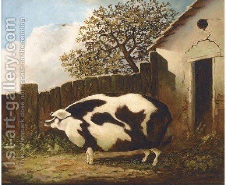 A sow in a farmyard by English Provincial School - Reproduction Oil Painting