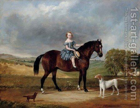 A young girl on her favourite pony by English Provincial School - Reproduction Oil Painting