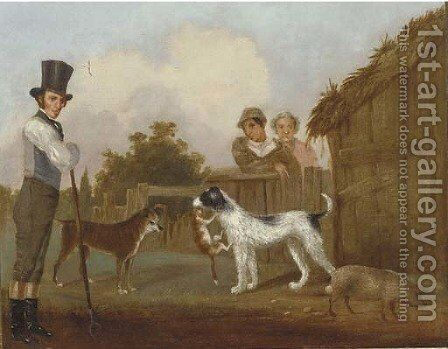 In the farmyard by English Provincial School - Reproduction Oil Painting