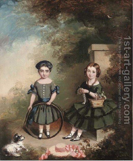 Portrait of two girls by English Provincial School - Reproduction Oil Painting