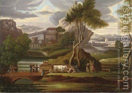 Worshippers before a holy relic, in a capriccio landscape by English Provincial School - Reproduction Oil Painting