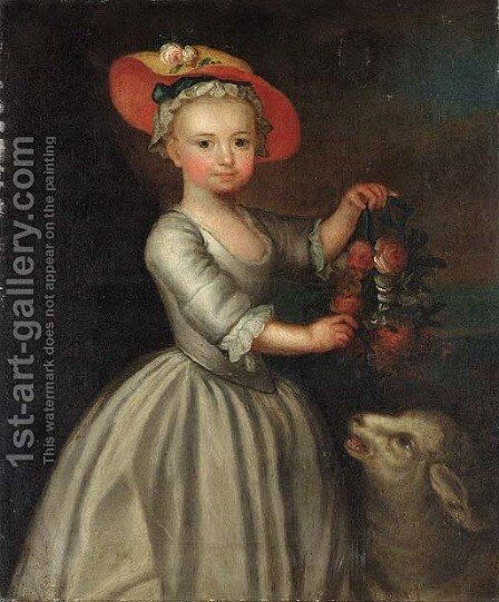 Portrait of a girl, holding a garland of flowers, a sheep beside by English Provincial School - Reproduction Oil Painting