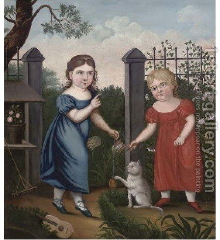 Portrait of two girls, full-length, in a garden by English Provincial School - Reproduction Oil Painting