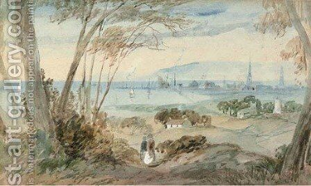 A distant view of Ayr; and Fishermen on the beach by English School - Reproduction Oil Painting