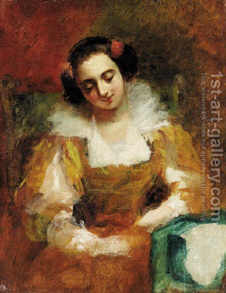 A elegant lady in a yellow dress by English School - Reproduction Oil Painting