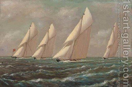 A flying start  Britannia, Iverna, Satanita and Valkryie (II) by English School - Reproduction Oil Painting