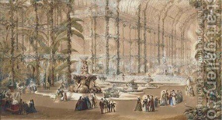 An architectural view of the Tropical Department in the North Wing of the Crystal Palace at Sydenham by English School - Reproduction Oil Painting