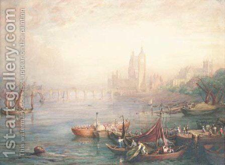 Figures on barges in a capriccio of London, with a view of the Houses of Parliament, St Margarets Westminster and Westminster Abbey by English School - Reproduction Oil Painting