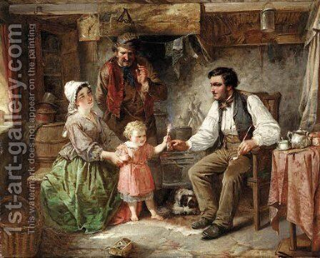 Fire for father by English School - Reproduction Oil Painting