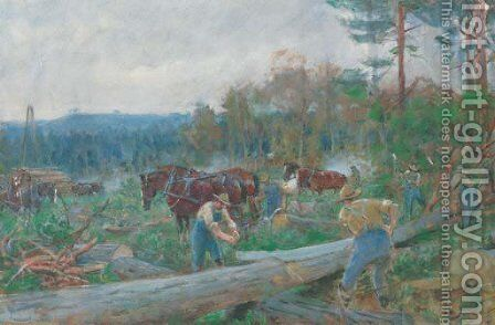 Lumberjacks and horses in a woodland clearing by English School - Reproduction Oil Painting