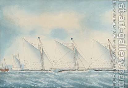 The Ocean Match with the yachts Red Rover, Wanderer and Kiama, 27th August, 1878 by English School - Reproduction Oil Painting