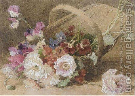 A basket of carnations by English School - Reproduction Oil Painting