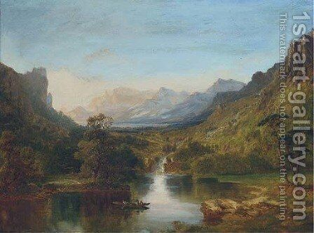 A boat in a lakeland landscape by English School - Reproduction Oil Painting