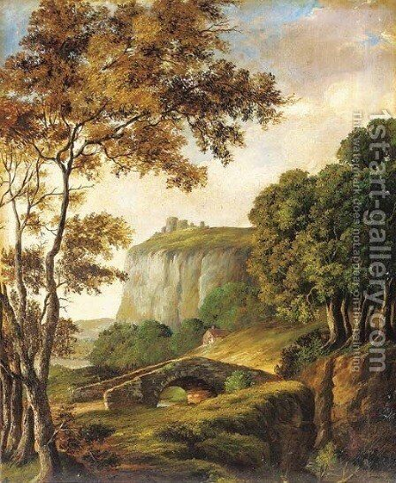 A bridge before a castle on a hilltop by English School - Reproduction Oil Painting