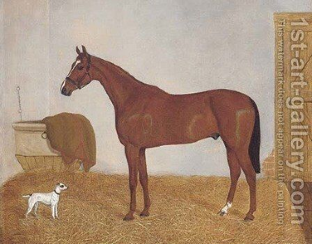 A chesnut horse in a stable by English School - Reproduction Oil Painting