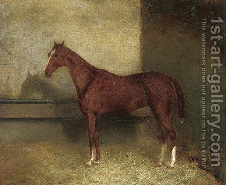 A chestnut hunter in a stable by English School - Reproduction Oil Painting
