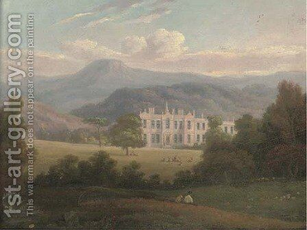 A country house in an extensive landscape by English School - Reproduction Oil Painting
