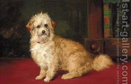 A dandie dinmont in an interior by English School - Reproduction Oil Painting
