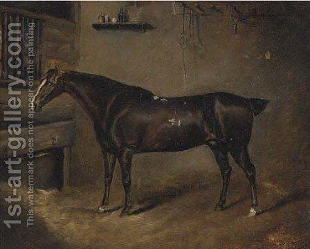 A dark brown horse in a stable by English School - Reproduction Oil Painting